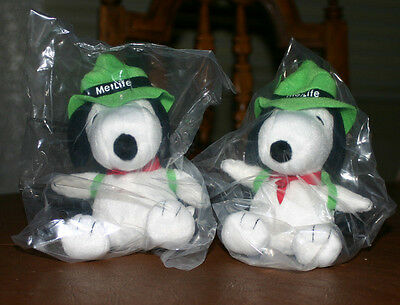 "2 NEW 6"" MetLife Snoopy Plush Hiker Campers, Green Hat & Backpack 2016"