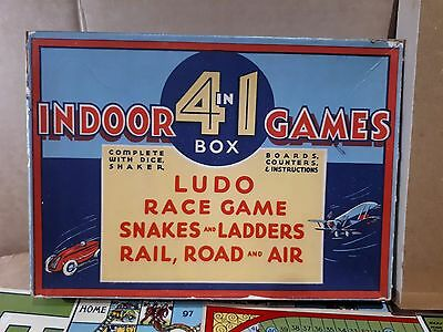 VINTAGE AUSTRALIAN 4 in 1 BOARD GAMES HORSE RACE, RAIL,ROAD & AIR BI-PLANE