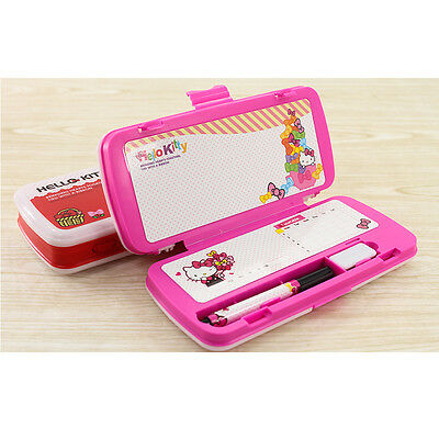 Sanrio Hello Kitty Double Sided Pencil Case Box Whiteboard Marker Eraser - PINK