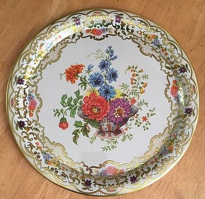 """DAHER DECORATED WARE Multicolor Floral Basket Style Tray 10"""" made ENGLAND #823"""
