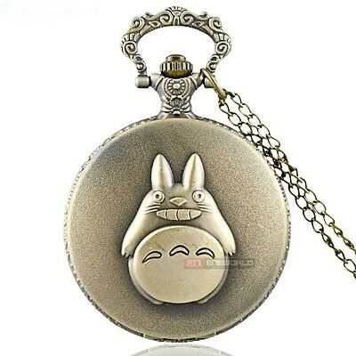 My Neighbour Totoro Bronze Tone Pocket Watch Pendant Necklace - XMas Gift Idea