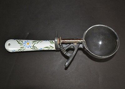 Vintage Ice Cream Scoop (Mechanical Design) with Ceramic Decorated handle  - 8""
