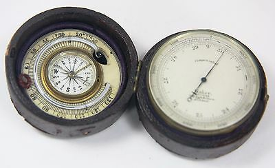 Rare Baker Optician London Pocket Barometer Compass & Thermometer Leather Case