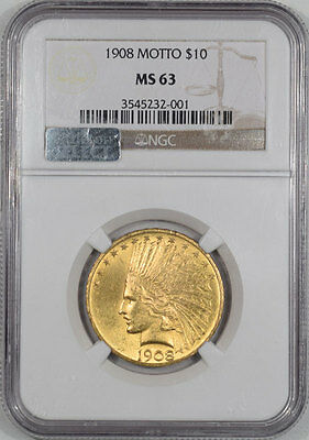 1908 $10 Indian Gold - Motto Ngc Ms-63, From The Reeded Edge!
