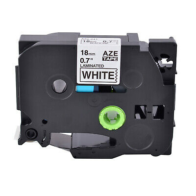 Black on White Label Tape for Brother TZ TZe 241 P-touch PT-D400 Print 18mm 3/4""