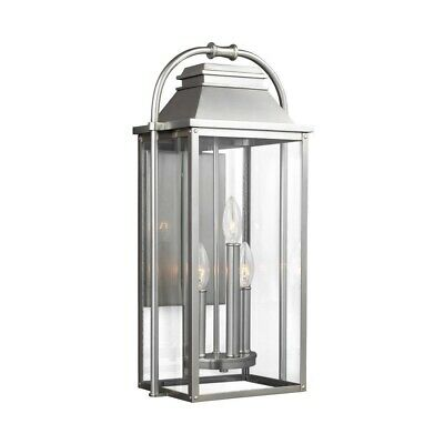 """Feiss OL13201PBS Painted Brushed Steel Wellsworth 3 Light 23"""" Tall Outdoor Wall"""
