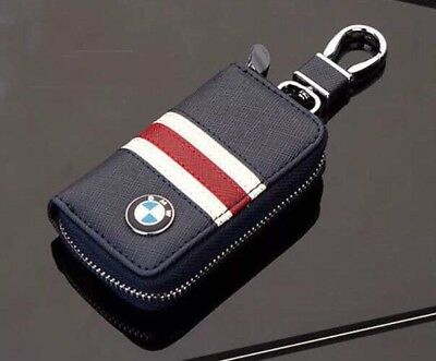 Bmw  Key Cover Case Holder Ring Chain Fob Blue With Red Stripe !