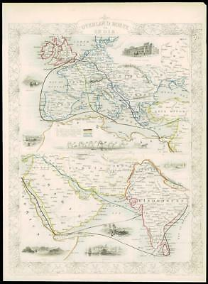"c1850 Antique Map ""OVERLAND ROUTE TO INDIA"" UK through Europe by Tallis (125d)"
