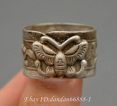 Collect Chinese old Miao silver carve butterfly flower auspicious lucky ring