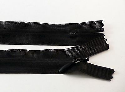 14 - 40 cm #3 CONCEALED INVISIBLE NYLON ZIPS   SEWING FASTENER CLOSED 6 COLOURS*