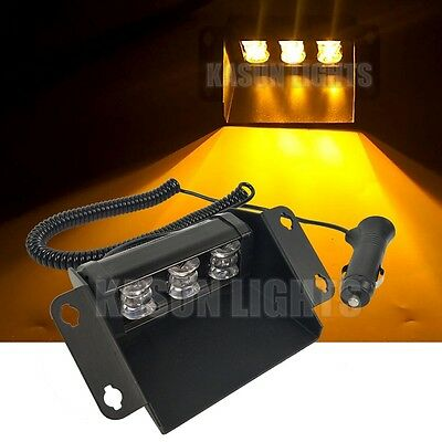 3W LED Emergency Beacon Vehicle Car Strobe Lights Warning Dash Flash Lamp Amber