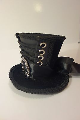 Victorian Look Mini Top Hat with lacing - Steampunk Gothic Burlesque Novelty