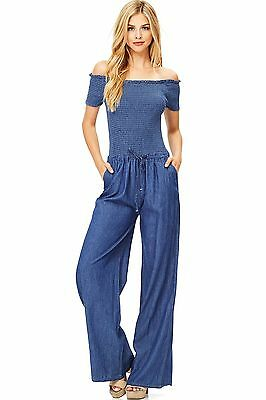 Chambray Off the Shoulder Smocked Special Occasion Denim Wide Leg Jumpsuit