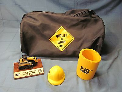 CATERPILLAR CAT Duffle Bag, Can Koozie, Foam Hard Hat mini, Trophy- Collectibles