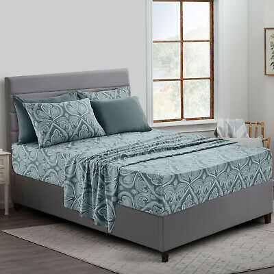 6 Piece Paisley Printed Deep Pocket Bed Sheet Set - 8 Beautiful Colors Available