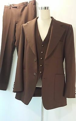 1970s  Men's size 40  3 Piece S.L. Sterling Business Dark Brown Suit Polyester