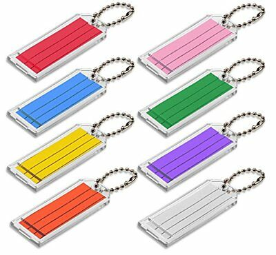 Lucky Line Large Key Tag with Ball Chain, Clear with Assorted Color Inserts, 50