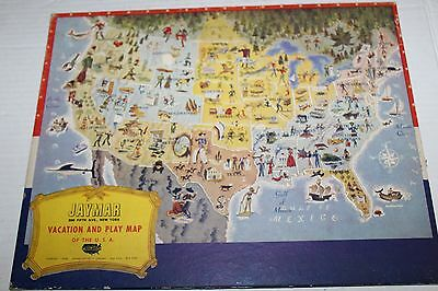 Jaymar New York Vacation and Play Map of The USA 1950 Puzzle Vintage