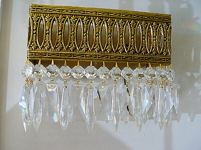 "VINTAGE Large 10"" x 8""  BRASS Crystal Wall SCONCE from SPAIN  - 4 AVAILABLE"