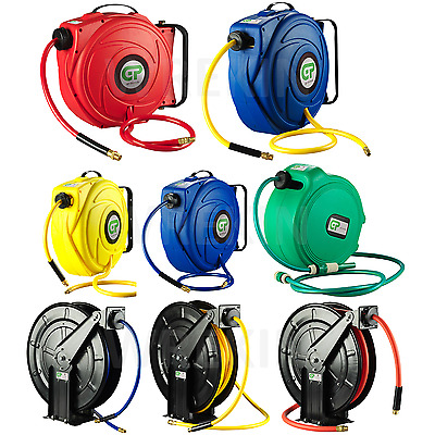 Spring Retractable 9m - 20m Air Hose Reel Compressor Heavy Duty Steel 10mm Bore