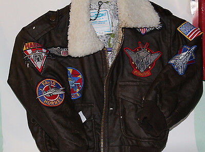 Flightline Brown Jacket with Patches . New Condition