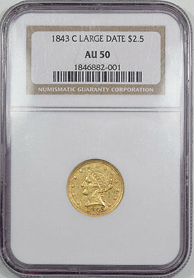 1843-C $2.5 Gold Large Date Ngc Au-50.  Another Coin From The Reeded Edge!