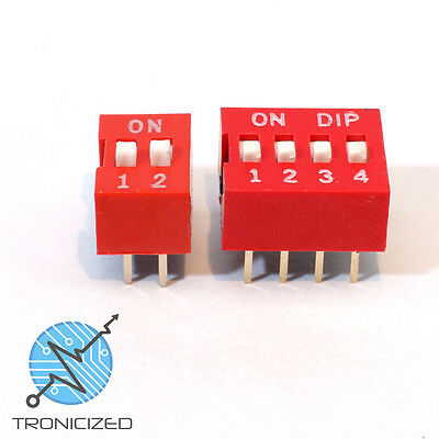 DIP DIL SPST Switch (Piano Type) PCB Breadboard 2 or 4 Banked Positions / ways