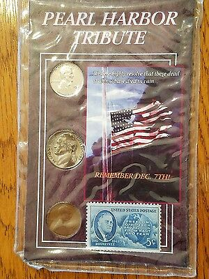 Pearl Harbor Tribute Coin & Stamp Set, sealed package