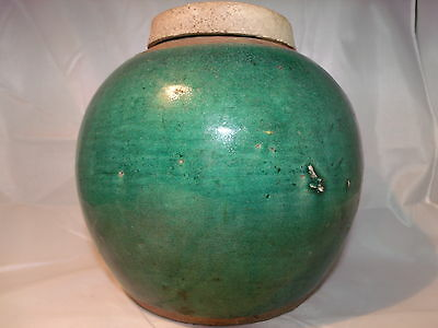 Rare late 1700's Chinese Large Ginger Jar Celadon Pot Glazed pottery from China