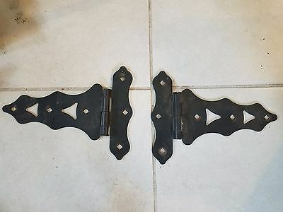 Pair of Vintage Antique Ornate Decorative Metal Hinge