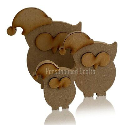 Free Standing MDF Wooden Christmas Owl Shape With Santa Hat
