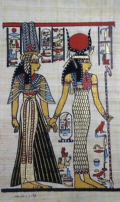 Egyptian Papyrus, Queen Cleopatra& Isis goddess of marriage12x16 Cm Hand Painted
