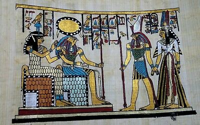 Egyptian Papyrus,Queen Cleopatra, HORUS & Isis goddess of Marriage Hand Painted