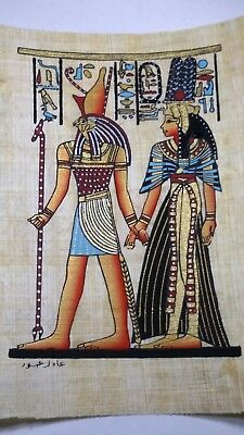 Egyptian Papyrus, Queen Cleopatra & HORUS 12x16 Cm Hand Painted-