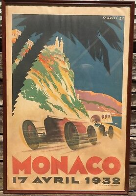 Vintage MONACO 17 Avril 1932 Auto Car Racing Poster Professionally Framed 39x25