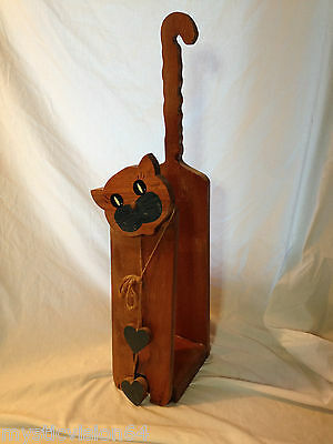 Vintage Cat Tissue Paper Holder Country Bath Handmade Wooden Country Decor