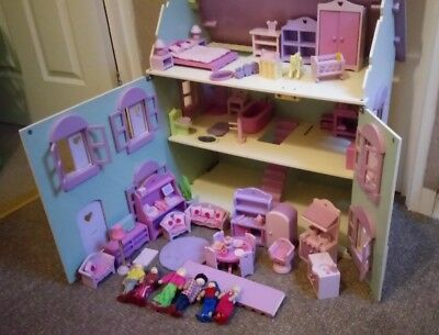 Wooden Dolls House With Some Elc Rosebud Furniture Picclick Uk