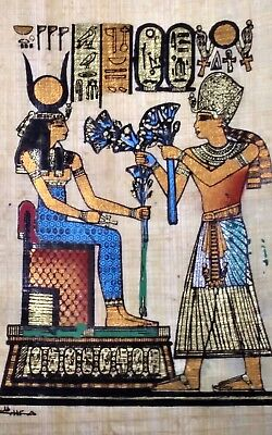 Egyptian Papyrus,king Tutankhamen& Isis Goddess of Marriage 12x16Cm Hand Painted