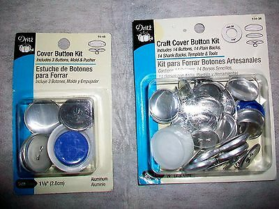 Lot Of 2 Dritz Craft Cover Button Kits - Includes Shank Backs, Template & Tools