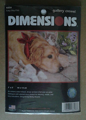 Stickpackung Stickset Crewel LAZY DAY PETS (Hund & Katzen) DIMENSIONS (USA)