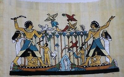 Egyptian Papyrus, Fishing & Hunting, 12x16 Cm Hand Painted-