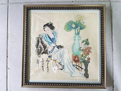 Antique Vintage Signed ORIGINAL CHINESE ART Painting On Silk LADY WITH FLOWERS