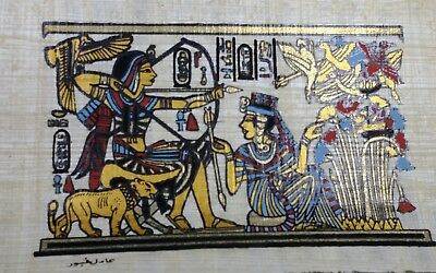 Egyptian Papyrus, king Tutankhamen, 12x16 Cm Hand Painted-