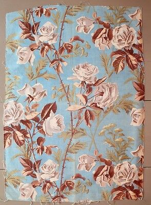 French Antique White Roses on Blue Printed Cotton Ground c1870 Fabric Sample