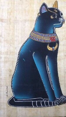 Egyptian Papyrus, Cat Bastet Goddess of Love & Dance, 12x16 Cm Hand Painted-