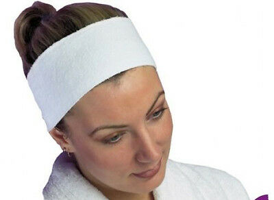 Velcro Cotton Head Band Therapist Beauty Student Hair Beautician white facial