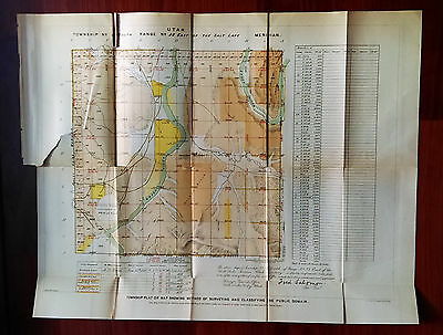 1878 Utah Survey Township Plat Map E of Salt Lake Meridian Green River