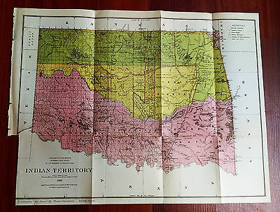 1883 Color Map Indian Territory, Apache Iowas Creek, Military Reservations