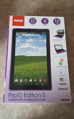 RCA PRO10 EDITION II Tablet With Keyboard Case 10'' 4 Core 16GB Purple  Android