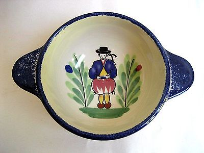 Quimper Double Handle Porridge Bowl Grand Père - Grandfather Pornic France